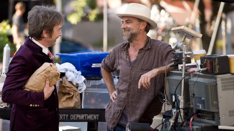 Paul Thomas Anderson with Martin Short on the set of Inherent Vice