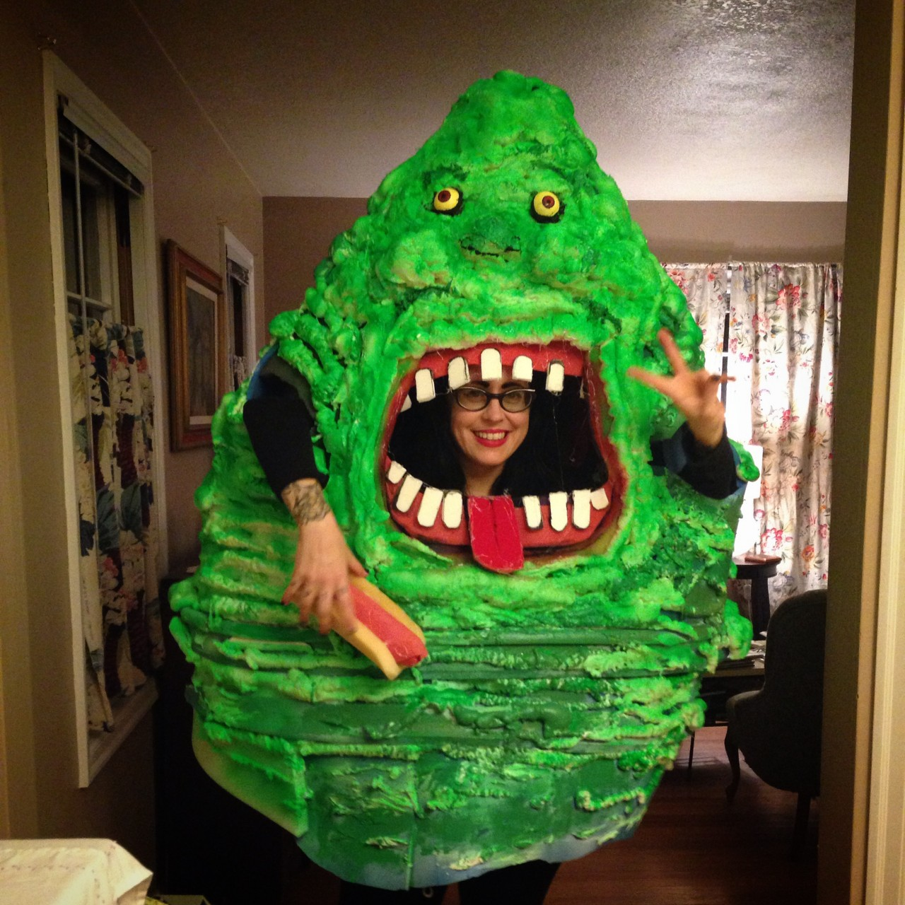 The completed Slimer costume!!