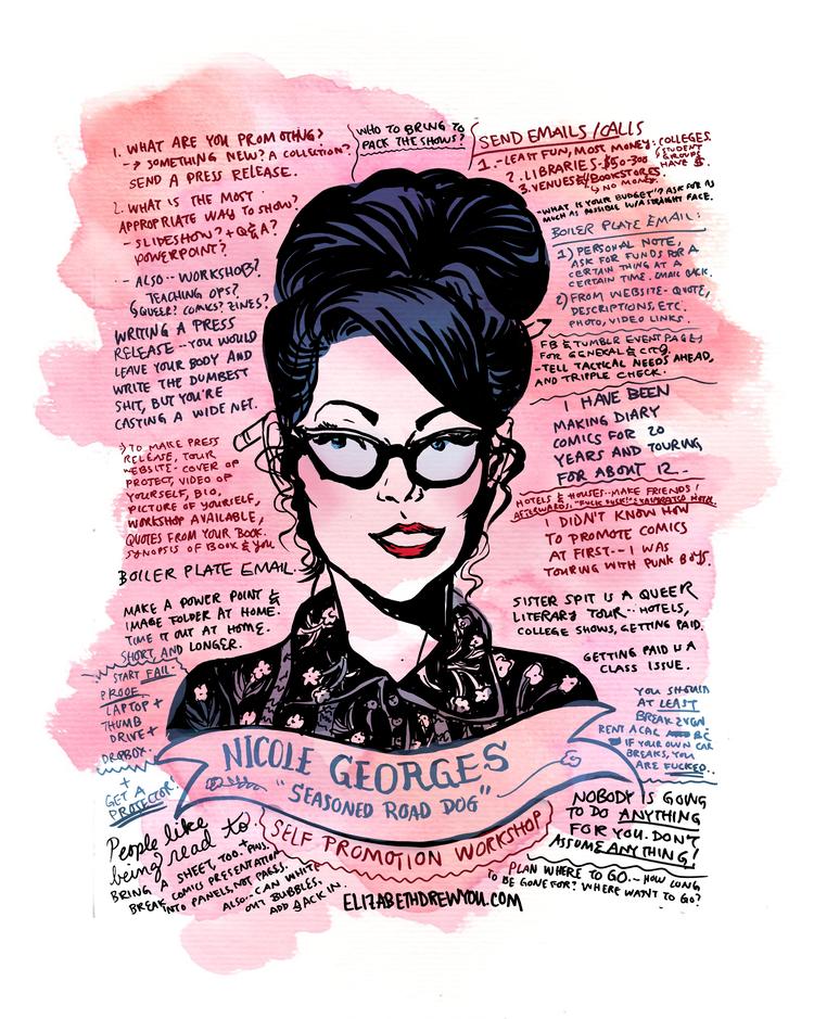 Portrait of Nicole Georges by Elizabeth Beier (http://www.elizabethdrewyou.com/) Image courtesy of http://queerscomicsnotes.tumblr.com/post/118986640939/nicole-georges-drawn-by-elizabeth-beier