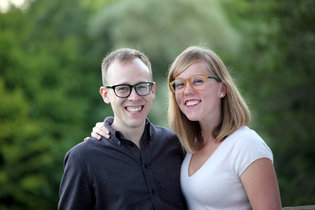 Lucy and her husband, John. Image courtesy of http://www.nytimes.com/2014/09/14/fashion/weddings/lucy-knisley-john-horstman.html