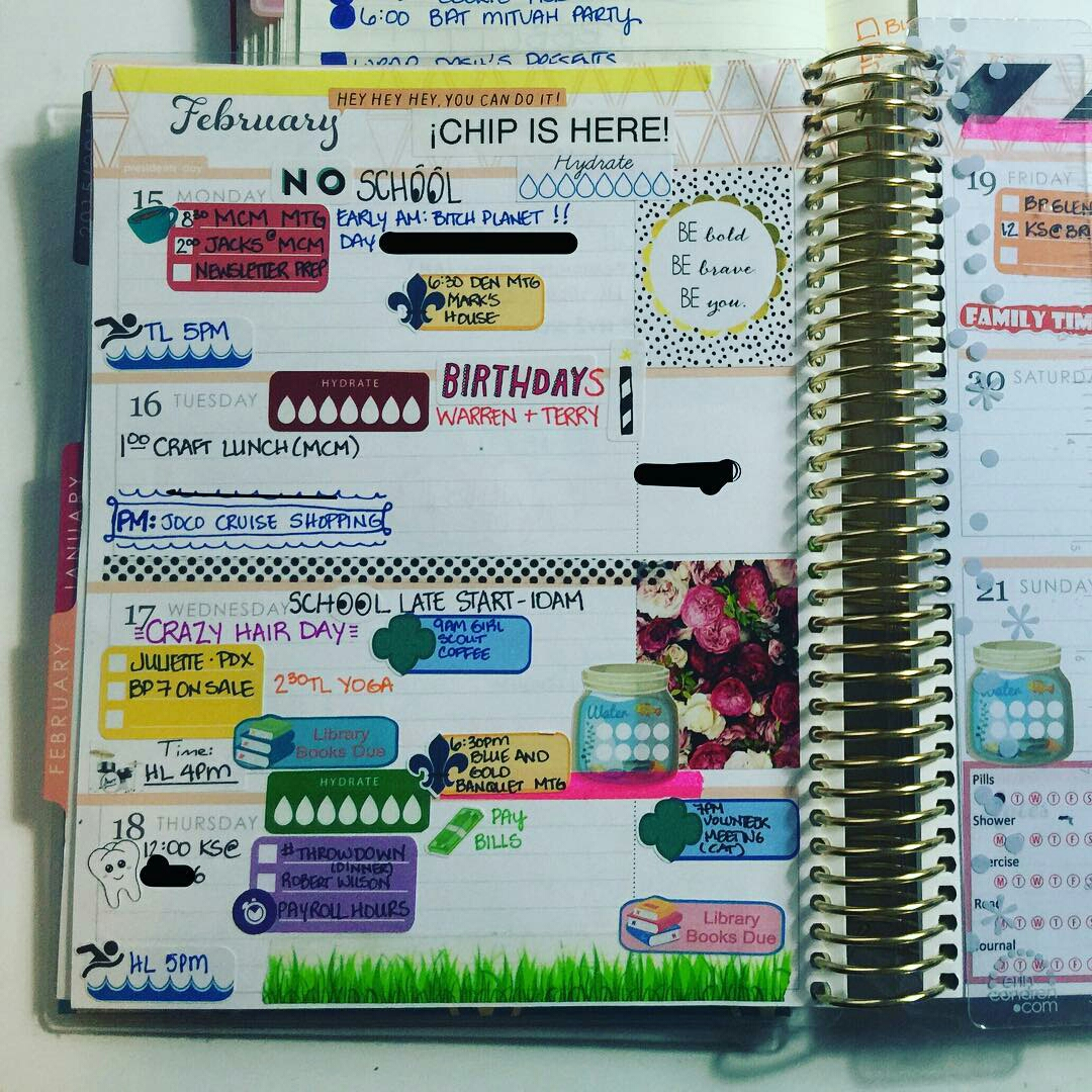 A page from Kelly's date planner.